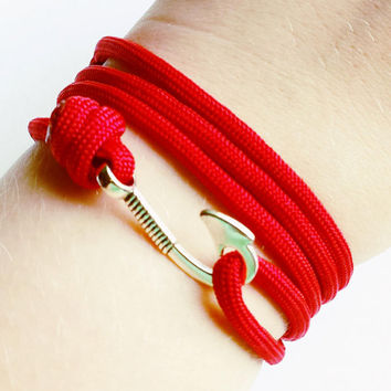 Fish Hook Paracord Bracelet- Adjustable Paracord Bracelet- Emergency Paracord Bracelet- Red 550 Paracord- Unisex Survival Bracelet