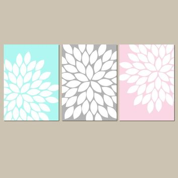 Pink Aqua Gray Wall Art, Baby Girl Nursery Art, CANVAS or Prints, Pink Aqua Gray Flower Nursery Decor, Girl Bedroom Wall Decor, Set of 3