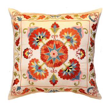 Handmade Suzani Silk Pillow Cover EMP705, Suzani Pillow, Uzbek Suzani, Suzani Throw, Suzani, Decorative pillows, Accent pillows