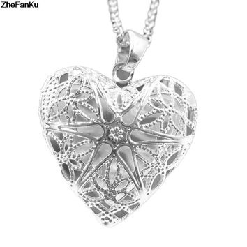 Gold Silver Plated Openable Put Photos Love Heart Hollow Box Heart Choker Necklaces Pendants Clavicle Chain