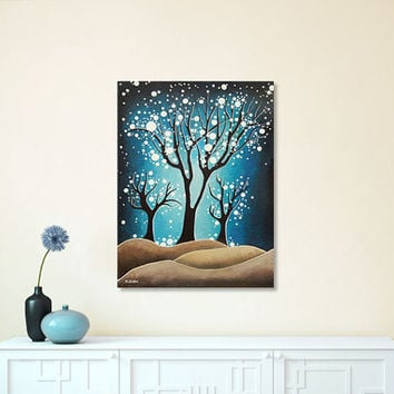 Blue Tree Art Original Painting, Night Tree Acrylic Painting on Canvas, Wall Decor Mothers Day Gift 12x16