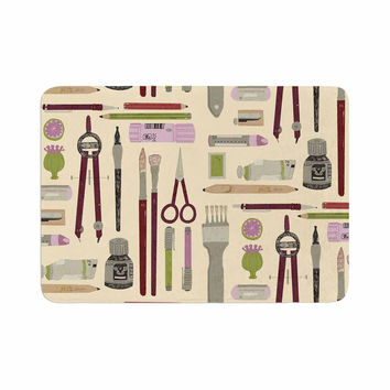 "Judith Loske ""Art Supplies"" Tan Pattern Memory Foam Bath Mat"