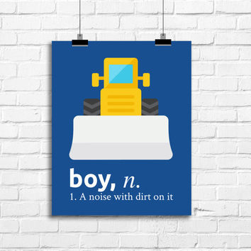 boy a noise with dirt on it, construction decor, nursery decor, vintage baby boy art, baby boy nursery art print, bulldozer print,