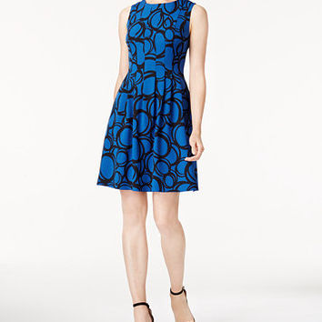 Anne Klein Printed Fit & Flare Dress | macys.com