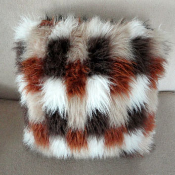Faux Fur Pillow Shagadelic Baby from the 1970s in Brown, Rust Off-White and Beige and Balack