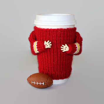Football coffee cozy. Red white yellow. Kansas City team. Football team spirit. Sport travel mug.  Mug sweater. Coworker gift. Football gift