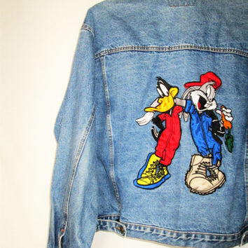 Vintage 1990s Bugs Bunny Daffy Duck Warner Brother Jean Jacket