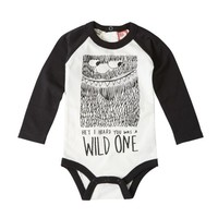 Wild One Long Sleeve Bodysuit Black | Babies Bodysuits | Rock Your Baby