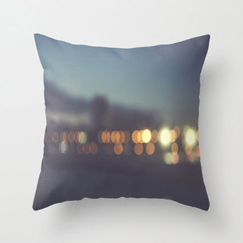 Santa Monica Beach Bokeh THROW PILLOW COVER Night Photography travel California Los Angeles blur Skyline Oceanside