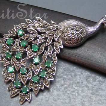 Large Vintage Art Nouveau Sterling Silver Marcasite Peacock Pin Brooch Jewelry