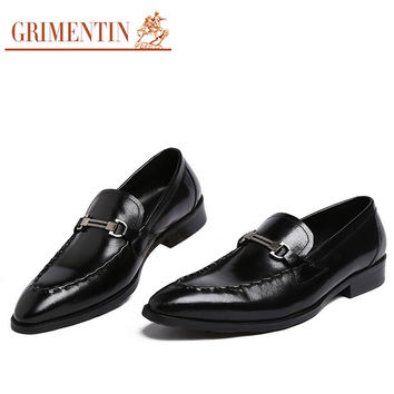 Fashion mens dress shoes genuine leather black brown wedding business office slip on male shoes men