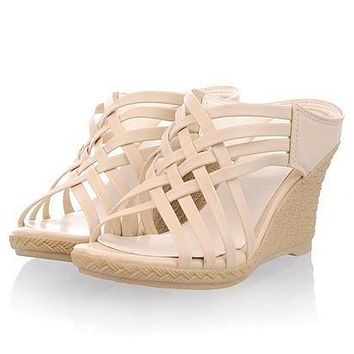 Very Strappy Cute Wedge Slip-ons