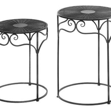 Cast Iron Umber Wicker Round Nesting Tables