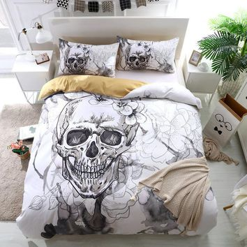3D Skull Quilt Black White Bedding Sets