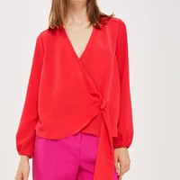 Long Sleeve Wrap Tuck Blouse