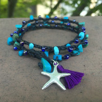 Turquoise beaded crochet wrap bracelet with starfish charm and purple tassel