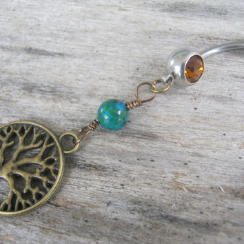Tree of Life Belly Ring, BRONZE Belly Button Ring, Azurite & Malachite, Birthstone Navel Piercing, Nature Body Jewelry, Tree Navel Ring
