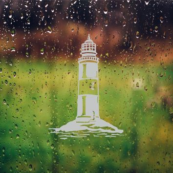 Lake Lighthouse Etched Glass Vinyl Shower Door Decal Window Stickers
