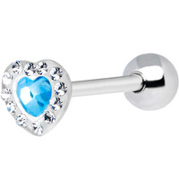 Light Blue Heart Acrylic Paved Gem Barbell Tongue Ring | Body Candy Body Jewelry
