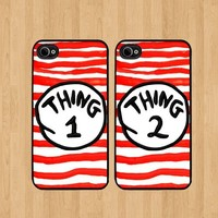 Thing 1 Stripes Best Friends iphone 5 Case Soft Rubber - Set of Two Cases (Black or White ) SHIP FROM CA