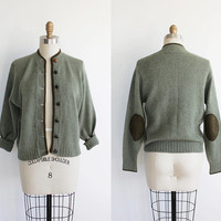 Vintage 60s Sage & Olive Wool Knit Cardigan with Elbow Patches   womens medium