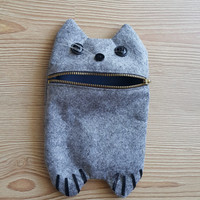 Grey cute cat Zip Purse, Makeup Bag, Coin Purse, Small Accessory Pouch FREE SHİPPİNG