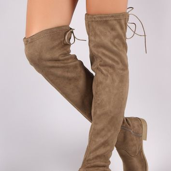 Suede Drawstring Over the Riding Knee Boots Flat Heels