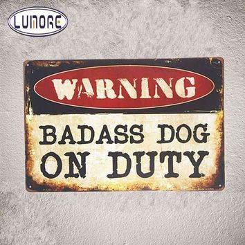 Security Warning signs Badass Dog on Duty Metal Tin signs Hanging Poster Bedroom,Home Wall Decor, Man Cave, Wall Painting