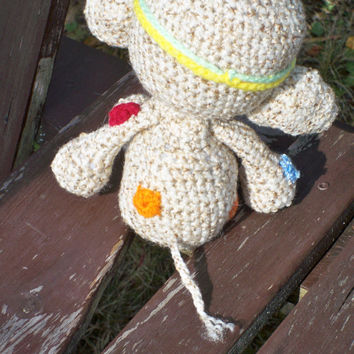 Crochet handmade hippie patched stuffed animal elephant. no removable eyes