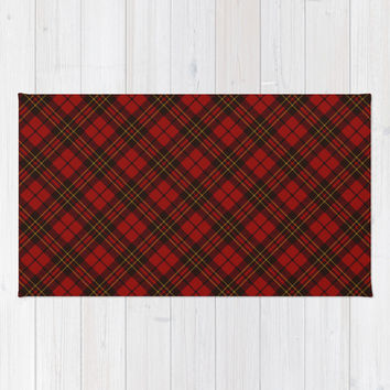 Adorable Red Christmas tartan Rug by PLdesign | Society6