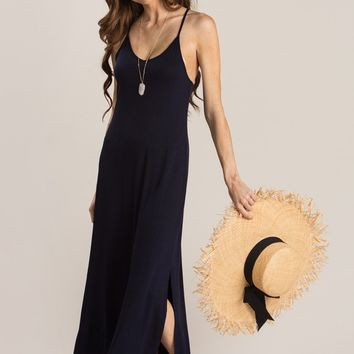 Martha Navy Slit Maxi Dress