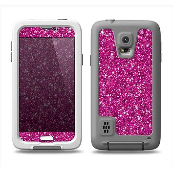 The Bright Pink Glitter Samsung Galaxy S5 LifeProof Fre Case Skin Set