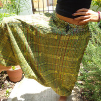 HANDMADE - Parachute Pants Alladin Pants Hippie Pants 80s Style Pants Cool Pants Mens Pants Womens Pants Green Pants Harem Pants FROM MEXICO