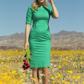 Calla Green Stretch Poplin Fitted Dress Green