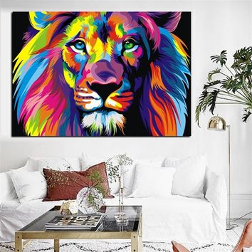 Watercolor Lion Animal Abstract Canvas Painting Cartoon Poster Print Pop Art Modern Wall Art Picture for Kids Room Nordic Decor