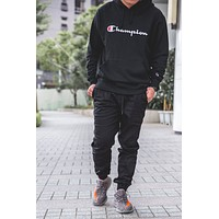 Champion Men Fashion Letter Hooded Long Sleeve Top Sweater Hoodie