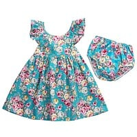 Summer Toddler Kids Baby Girl Clothing Floral Dress Sundress Briefs Flower Cute Outfits Clothing Dresses Girls 0-5T