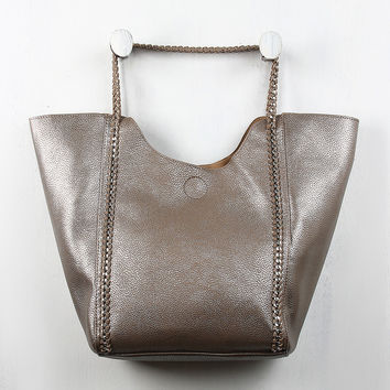 Wrapped Chain Pebbled Leather Tote Bag
