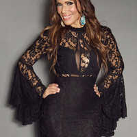 Semi-Sheer Black Bell Sleeve Lace Dress