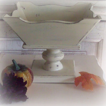 Wood Pedestal Compote Shabby Chc by SeasideRoseCreations on Etsy
