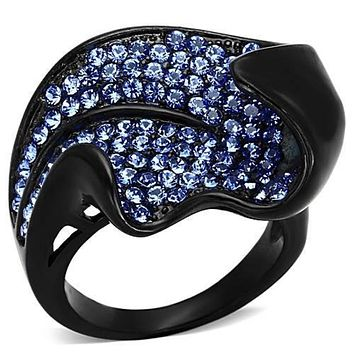 WildKlass Stainless Steel Pave Ring IP Black(Ion Plating) Women Top Grade Crystal Sapphire