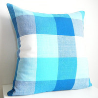 Checkered Pillow, Teal Pillow, Modern Country Decor, Rustic Cabin Decor, Cabin Pillow, French Country