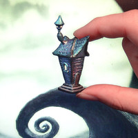 Tim Burton inspired house miniature polymer clay by UraniaArt