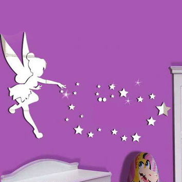 26pcs/set Tinkerbell Fairy Wall Mirror Acrylic Mirrored Decorative Tinker bell Wall stickers Home Decoration Wall Art Paper