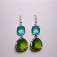 Aqua Turquoise Apple Green Sterling Silver Dangle Earrings