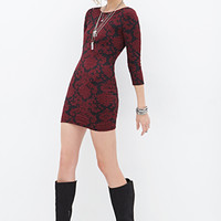 FOREVER 21 Textured Damask Bodycon Dress Black/Burgundy