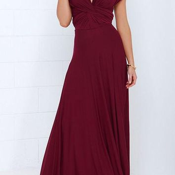 Burgundy Cross Back Lace Up multi way Abendkleid Bridesmaid Party Maxi Dress
