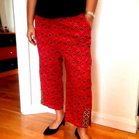 SPRING SUMMER Cotton Cropped Pants/ Capri/Palazzo / Red cotton pants / cotton side slit trousers / indian cotton pants / summers trousers