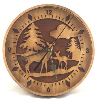 Deer In The Woods Wooden Wall Clock Birch Personalize