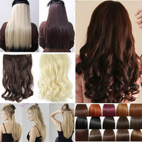 """17"""" Curly/Wavy Long Women lady Clip in Hair Extensions 100% Real Natural Hair"""
